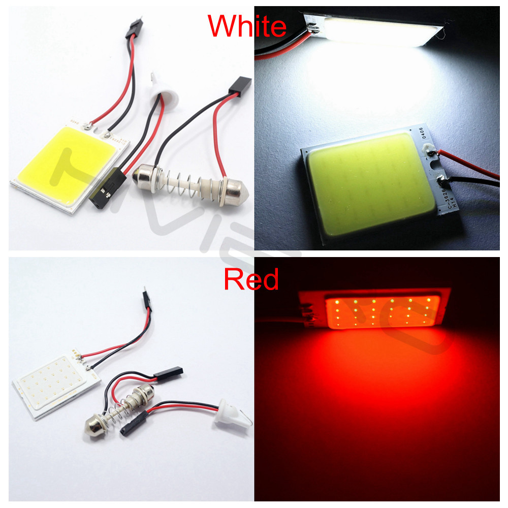 Hviero White Red Blue T10 24 SMD Cob 24SMD Car Led Vehicle Panel Lamps Auto Interior Reading Lamp Bulb Light Dome Festoon BA9S DC 12v