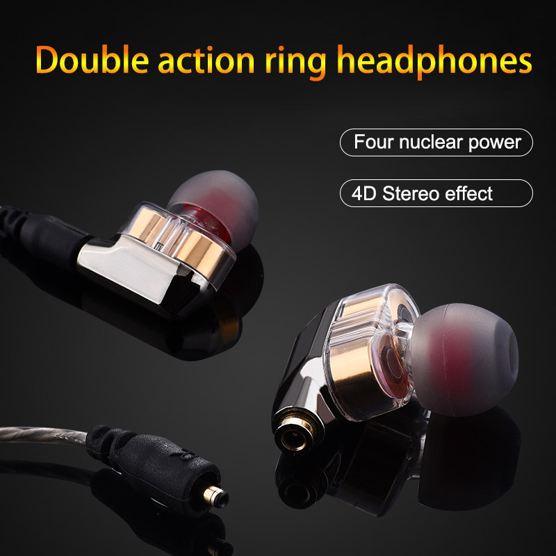 New 3.5mm In-ear Earphone Double Dynamic Drive HIFI Earphone Bass DJ Metal Earphone with Mic Universal earplug
