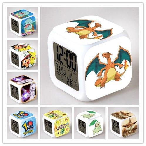 2017 New Color Changing Flash Backlight Modern Digital Pokemon Alarm Clock Desk LED Luminaria Display Cube Best Gift for Kids