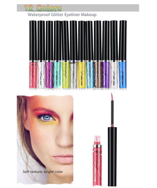 Professional Colorful Waterproof Glitter Eyeliner Pencil Eye Liner Makeup Long Lasting Cosmetics Makeup Color Shimmer 12pcs/set