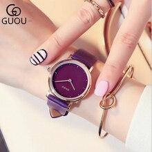 GUOU часы брендовые модные наручные женские часы розовое золото женские часы кожаные часы bayan saat montre femme relogio