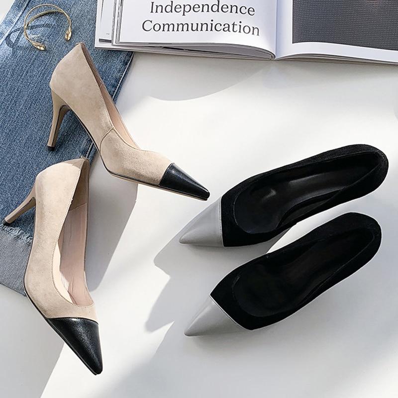 Pie Puntiagudo Alto Primavera Del Dedo De Isnom Baja Tacón Cuero 2019 Oficina Fina Nuevo Zapatos Mujeres Mujer Calzado Chico apricot Negro Las Bombas Gamuza wPnqIv1pn