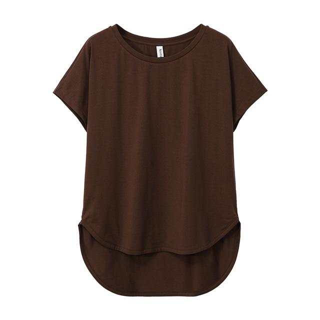 100% cotton Loose Casual Summer Short Sleeve Female T shirt Women  asymmetric O-neck Tee Tops M30326 3