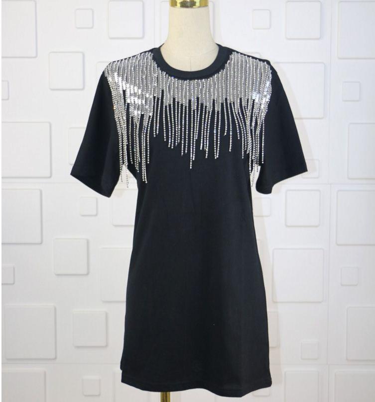 Casual Pulls De Street Printemps Strass Gland Femmes 2019 Shirt T Mode Blingin' Tops High Paillette Tee Style Sequin FJ3T1ulK5c