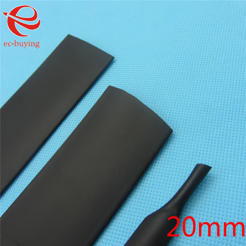 1m Heat Shrink Tubing 20mm Heatshrink Black Tube Inner Diameter Wire Wrap Cable Kit
