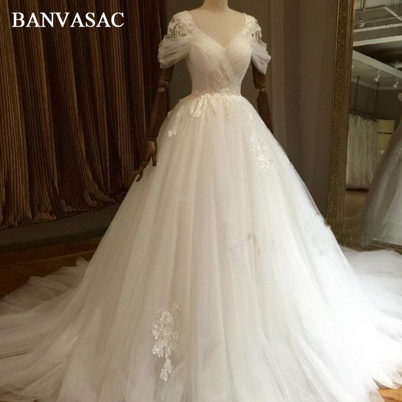 Vintage Lace Gothic Overskirts Wedding Dresses 2018 Plus: BANVASAC 2018 Vintage Lace Appliques Ball Gown Wedding