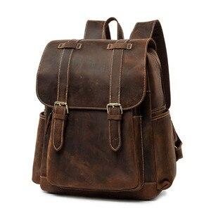 Мужской рюкзак из натуральной кожи BOLEKE, винтажный водонепроницаемый рюкзак из натуральной кожи Crazy Horse, рюкзак из коровьей кожи