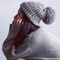 2016 Mujeres Otoño Invierno Sombreros Gorros Gorro de Punto de Ganchillo Sombrero Del Oído Proteja Caliente Skullies Gorros Casual Cap Femele