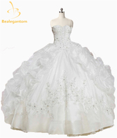 2016 New Lovely Pink White Quinceanera Dresses With Jacket With Beaded Ruffles Organza Vestido De 15