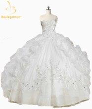 2016 Новый симпатичный розовый белый Quinceanera платья с курткой с бисером оборки Organza Vestido De 15 лет сладкий 16 платье QA1071