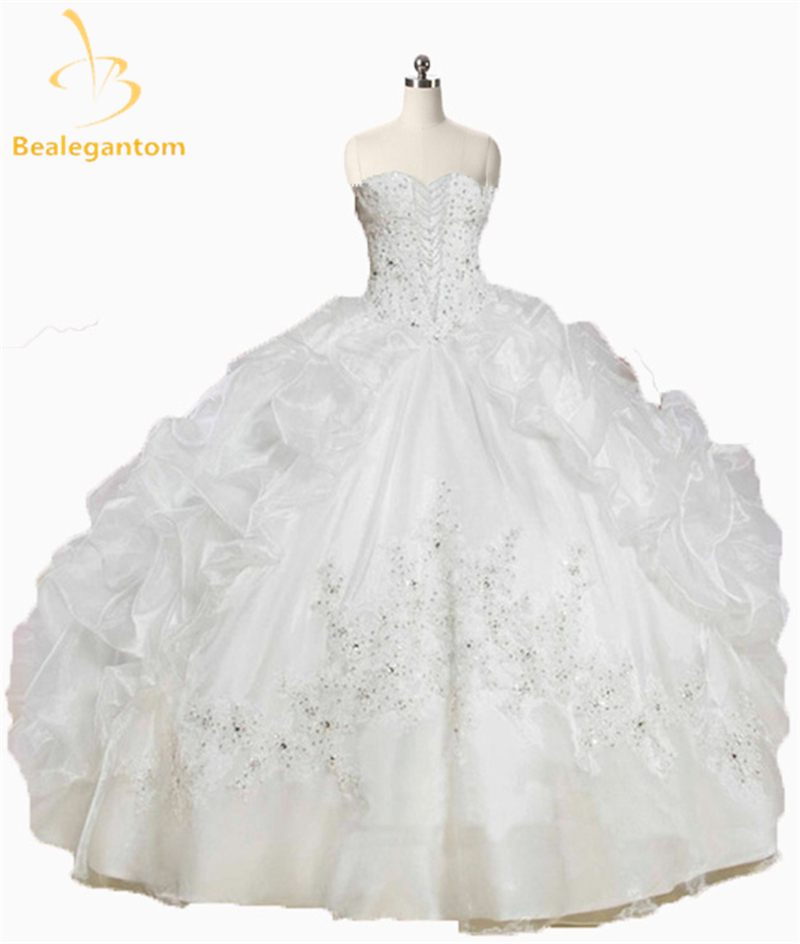 2018 New Lovely Pink White Quinceanera Dresses With Beaded Ruffles Organza Vestido De 15 Years Sweet 16 Dress QA1071