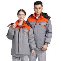 Winter Mannen Werken Jas Lange mouwen Warm Katoen gevoerde werkkleding uniformen Reflecterende strip Veiligheid Kleding Liner verwijderbare