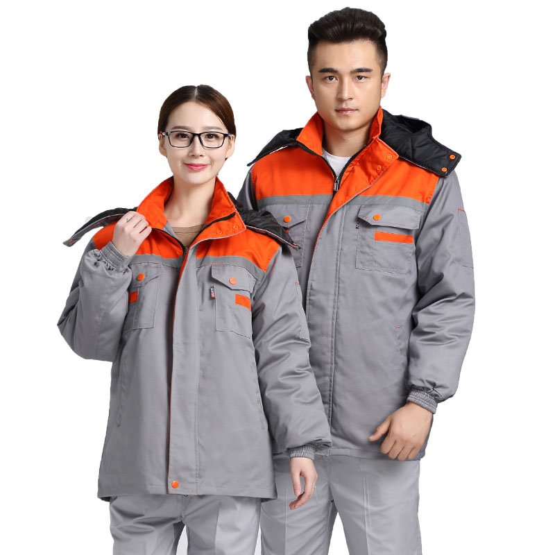 Winter Men Working Jacket Long-sleeved Warm Cotton-padded Work clothes uniforms Reflective strip Safety Clothing Liner removable mens work clothing reflective coveralls windproof road safety maritime clothing protective clothes uniform workwear plus size