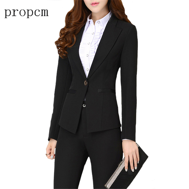 Propcm Marca 2017 Mujeres Juegos de Bragas Conjunto Formal ropa de Trabajo de Oficina de Alta Calidad Elegante Estilo Uniforme de Traje de Pantalón de Negocios Negro