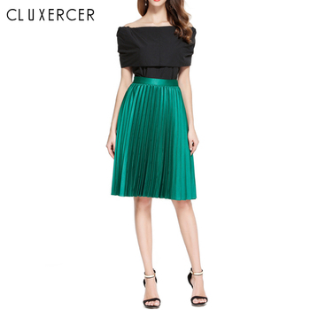 2020 New Korean Style Pleated Skirt Women Casual Autumn Winter Elastic High Waist Green Black Office Lady Midi Skirt 2019 korean version of the new skirt female was thin spring rivet high waist elastic waist black pleated skirt s xxl mini skirt