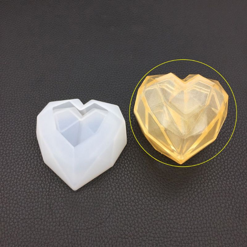Silicone Mold DIY Epoxy Resin Crafts Heart-shape Storage Box Case Desk Table Decoration Organizer Jewelry Container Geometric