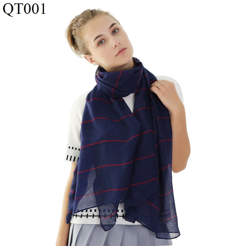 F&U Tr-cotton Viscose Wide color Stripes Long Soft   Scarf     Wrap   Luxury Shawl Fashion And Warm For Woman In Winter 12 Colors
