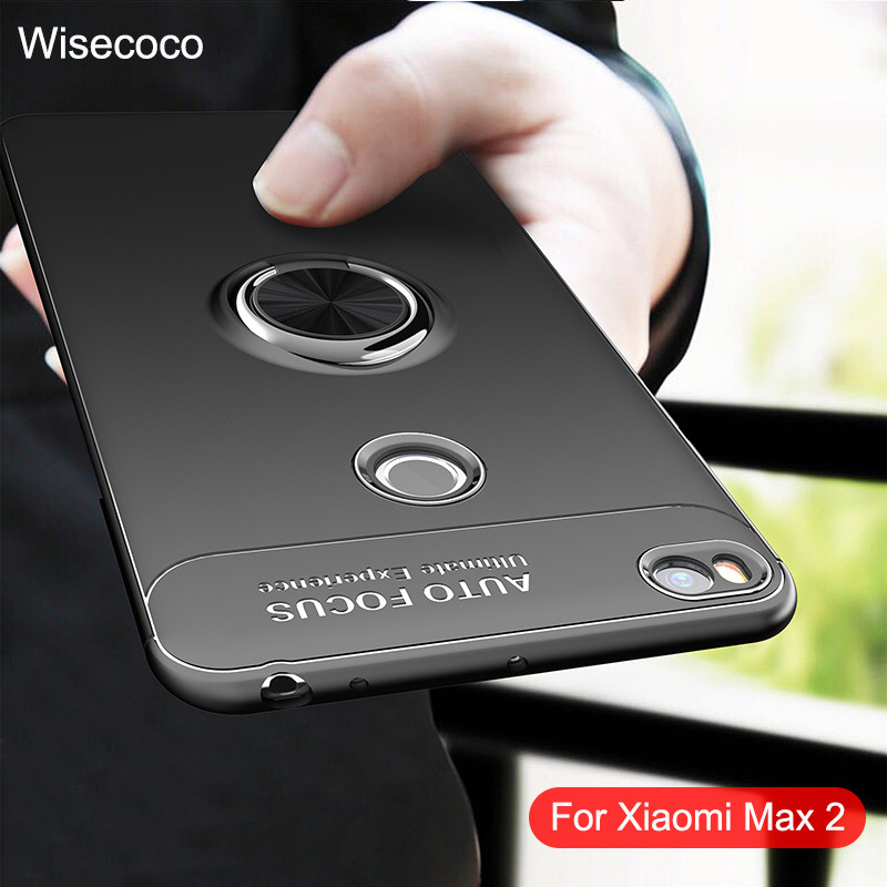Phone Cases For Xiaomi <font><b>Mi</b></font> <font><b>Max</b></font> <font><b>2</b></font> Magnetic Ring Car Holder stand 360 Silicone Shockproof Back Cover For Xiao <font><b>Mi</b></font> <font><b>Max</b></font> <font><b>2</b></font> bumper Case image