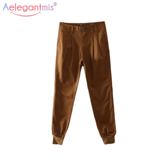 Special Offer Aelegantmis High Quality 100% Cotton High Waist Harem Pants Women Autumn Casual Overalls Pants Female 2017 New