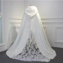 Fête de mariage enveloppé cape châle train à capuche cape mariée cape nouvelle hiver automne dentelle et satin veste