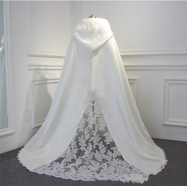 Party Wedding Wrapped Cape Shawl Train Hooded Cloak Bride Cloak New Winter Autumn Lace & Satin Jacket