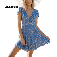Lily Rosie Girl Blue Floral Print Summer Beach Dress Boho Style Deep V Neck Short Sleeve