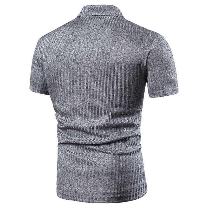 2019 ホット男性セクシーなディープ V ネックデザインポロシャツ半袖ファッションポロシャツカジュアルスリム固体トップス夏男性服
