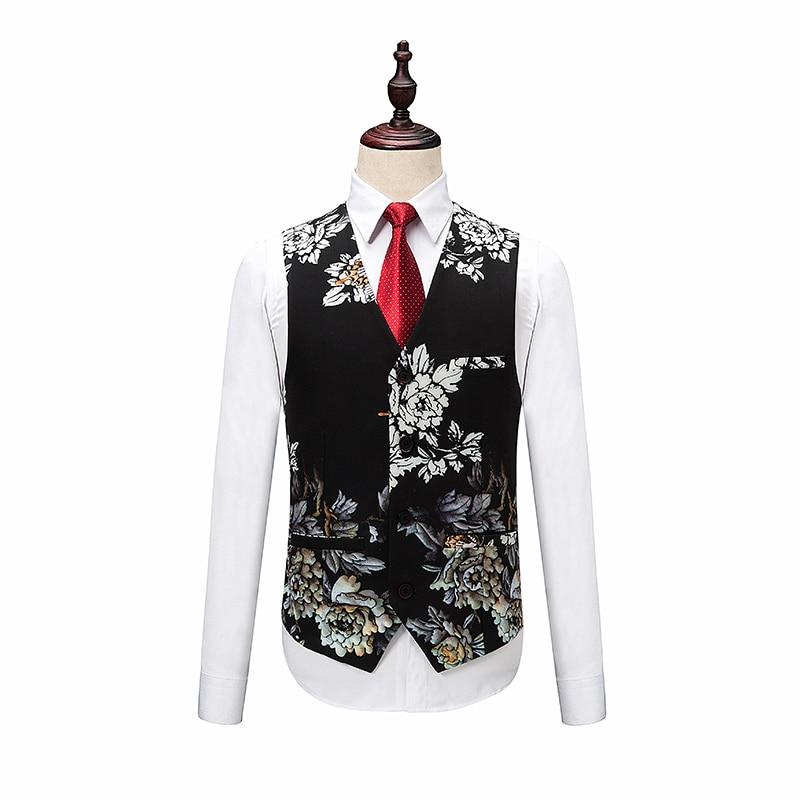 Блейзеры брюки жилет наборы/модный мужской повседневный модный бантик цветочный принт костюм куртка пальто брюки жилет 3 шт. костюмы - 3
