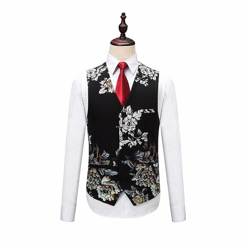 Blazers Broek Vest Sets/Mode mannen Casual Boutique bloem Bloemenprint jasje jas broek vest 3 stuks suits - 3