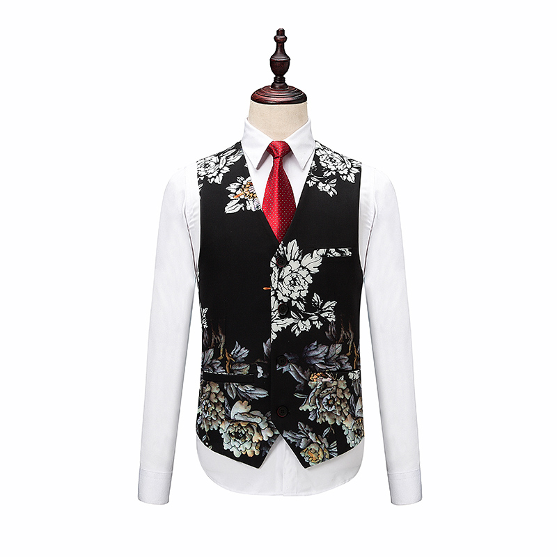 Blazers Pants Vest Sets / Fashion Men's Casual Boutique flower Floral Print Suit jacket coat trousers waistcoat 3 pieces suits - 3