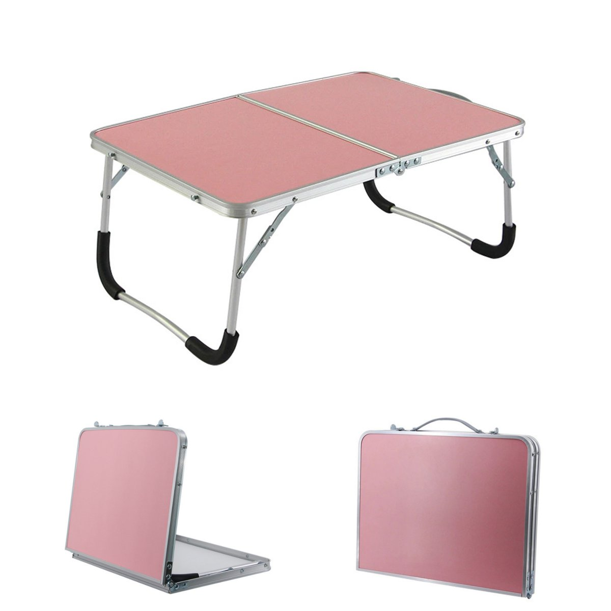 Portable Folding Aluminum Alloy Laptop Table Sofa Bed Office Laptop Stand Desk Computer Notebook Student Bedroom Table 3 Color