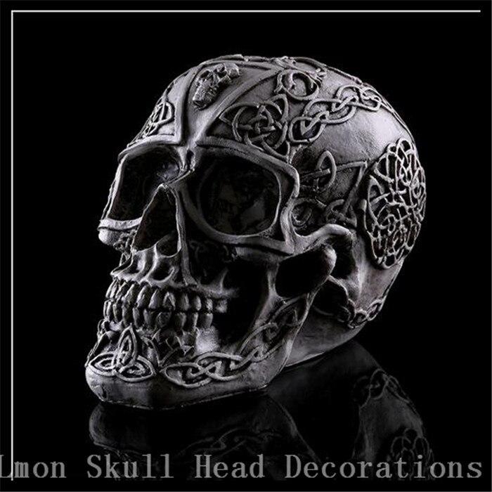 30ca5d86ef2e5 الحرف اليدوية الراتنج الزخرفية جمجمة الرأس أنقش الجمجمة نمط الحلي شخصية  الأسود الجدول الحلي بار زينة