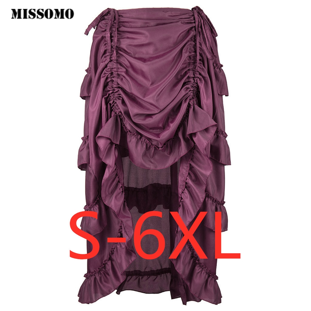 MISSOMO Skirts Womens Steampunk Gothic Skirt Ruffles Pirate Asymmetrical Dance Summer Skirt Vintage Retro Jupe Femme 617