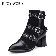 E TOY WORD Gothic Shoes Women Motorcycle Boots Black Belt Buckle Ankle Pointed Toe Chunky Heel Zipper Autumn boots
