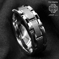 8 мм на вершине мужское кольцо из карбида вольфрама серебряное обручальное кольцо кирпичный узор Размер 6-13