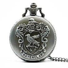 Черные карманные часы Ravenclaw TD2120, антикварные кварцевые часы с цепочкой и подвеской в подарок