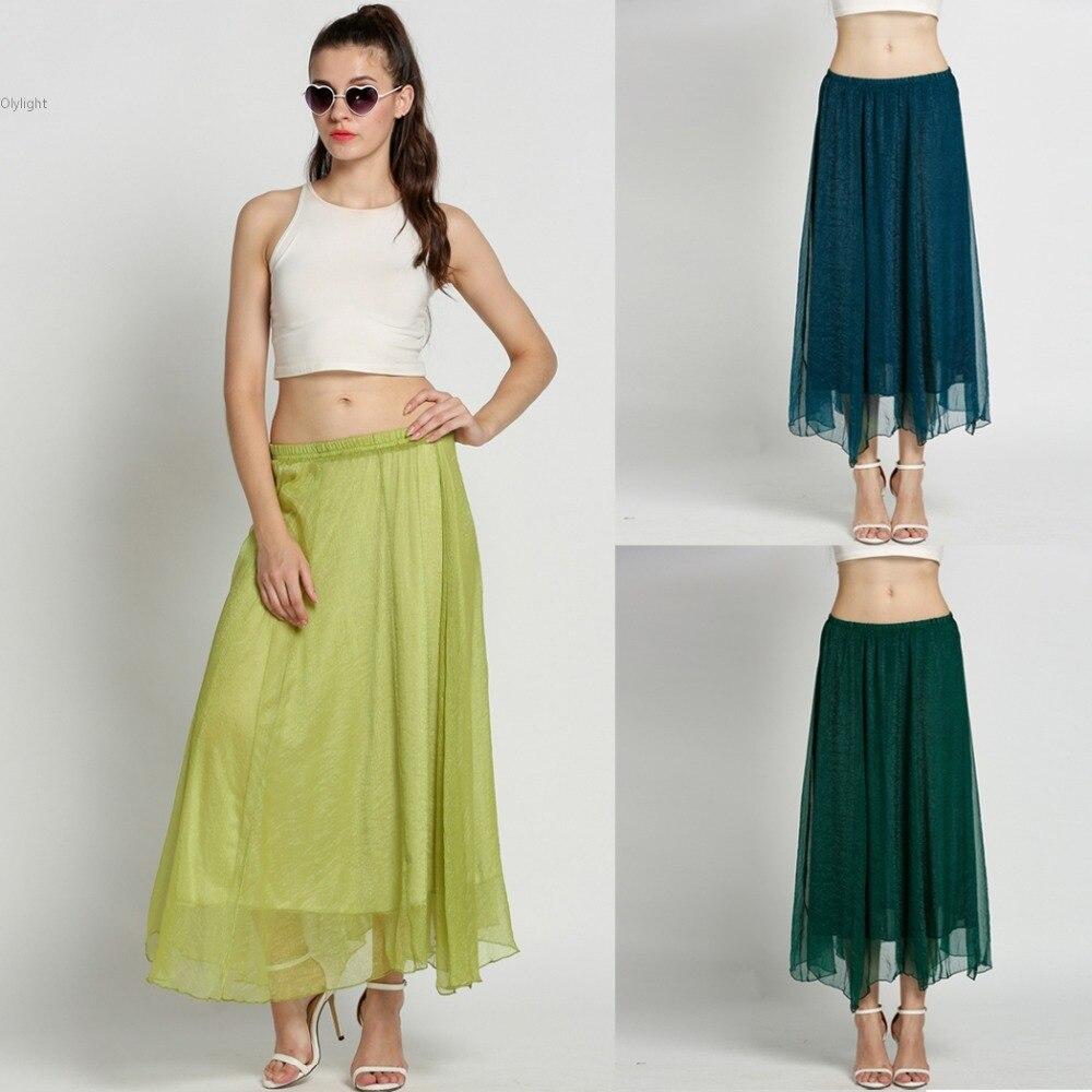 Women Long Chiffon Summer Pleated Skirts Lady Retro Full Circle BOHO Gauze School Faldas Plus Size Bohemian Skirt
