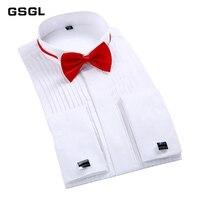 Fashion France Cuff Tuxedo Shirts slim Fit Long sleeve Bridegroom Wedding party men dress shirt with Bow Tie