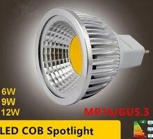 Lâmpada led de alta potência, holofote regulável mr16 gu5.3 cob 6w 9w 12w quente e fria lâmpada branco mr16 12v gu 5.3 220v