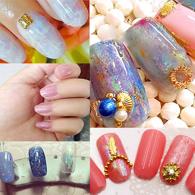 1 Piece Holographic Foil Sticker Transparent Color Rainbow For Women Nail Art Transfer Polish Tip Decal Decoration 01