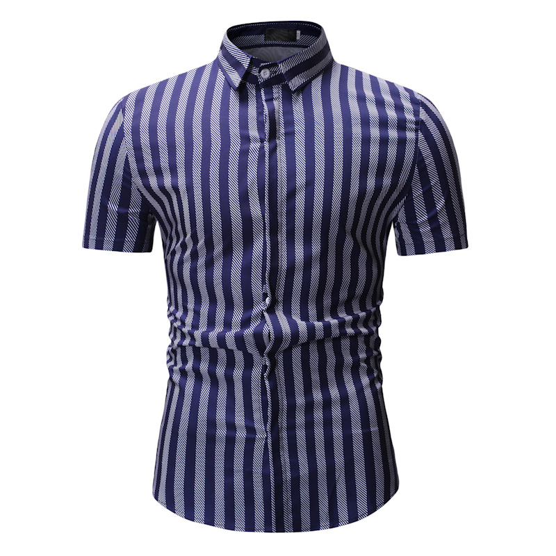 New Autumn Fashion Brand Men Clothes Slim Fit Short Sleeve Shirt Stripe Cotton Casual Social Plus Size M-3XL