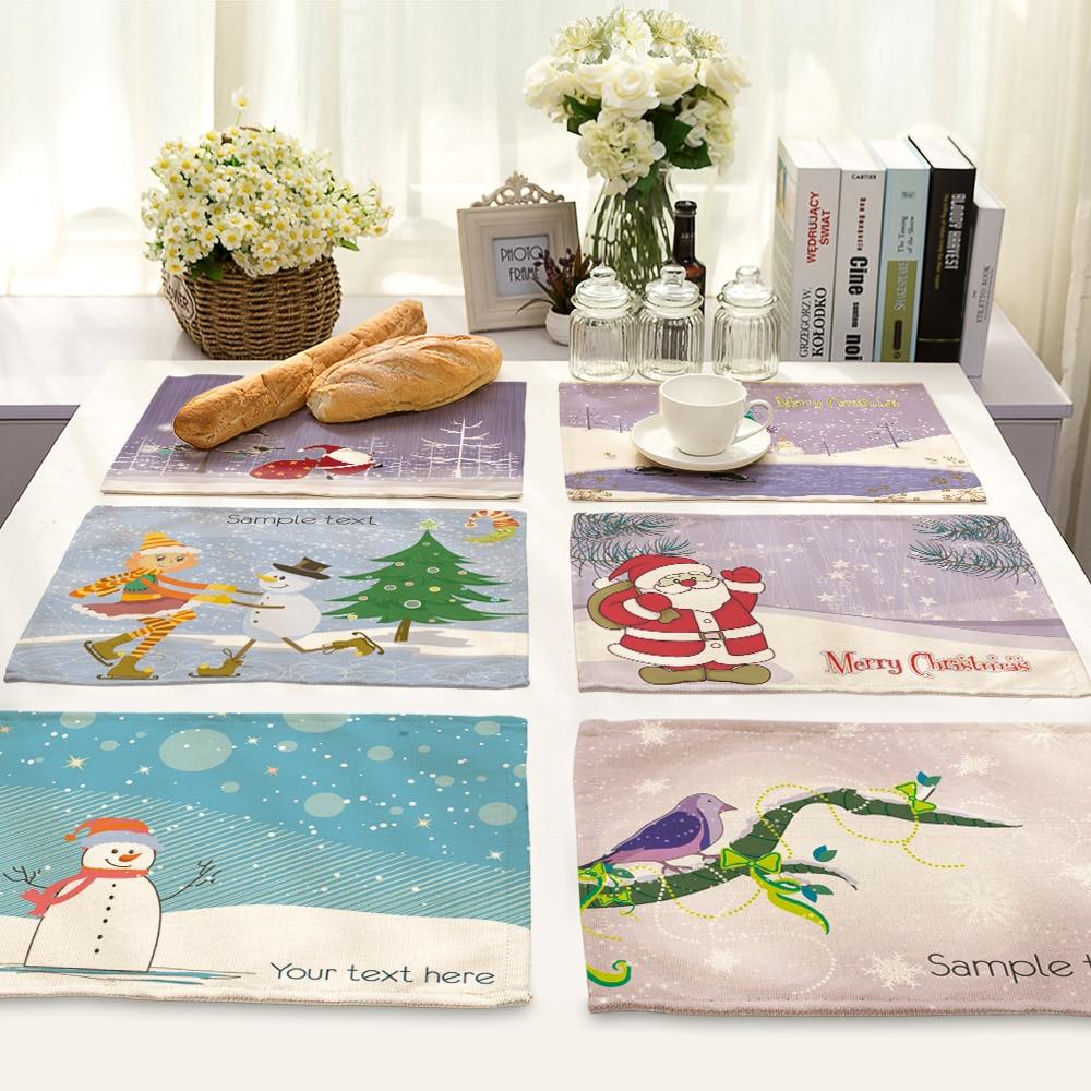 42*32cm Snowman Pattern Table Dinner Burlap Napkin Placemats For Party Home Decor Table Napkins mx0008
