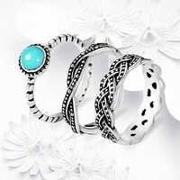 Conjunto de anillo de piedra azul Bohemia joyería Vintage Anillos Infinity para mujeres anillo de plata antigua Bague Femme Masculino Anillos Z3H642