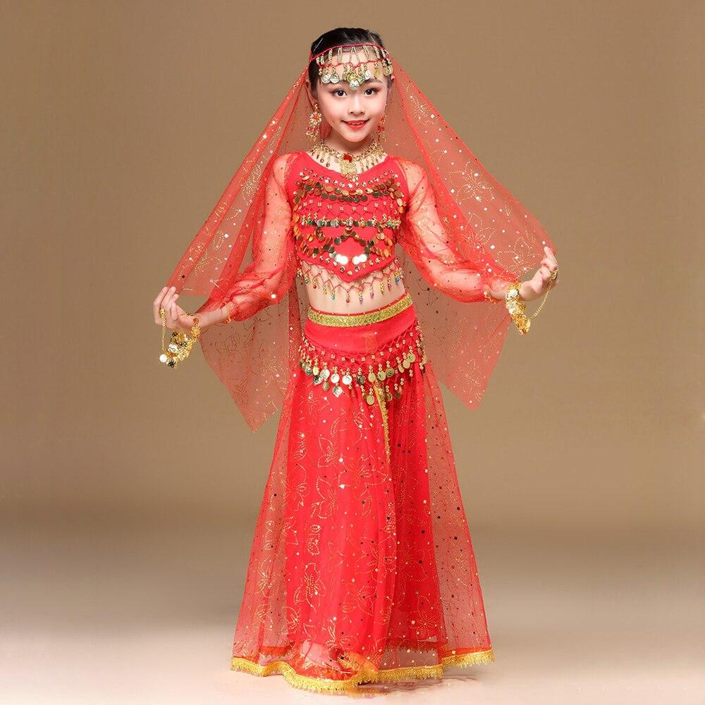 c7e16d04a 2018 Children Dancewear Belly Dance Costume Set Indian Dance Clothes  Bollywood Outfits 4pcs (Top Belt Skirt Veil Headpiece)