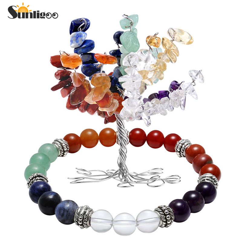 Sunligoo Crystal Bracelet-Decoration Money-Tree-Decor 7-Chakra Balance Tumbled-Stones