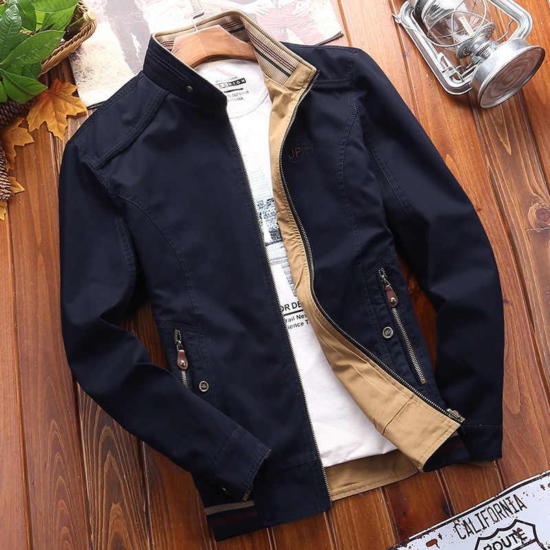 Afs ZDJP 6xl 7xl 8xl JEE плюс размеры весна и осень куртка одноцветное Miliar хлопковое пальто 2018 мужской Двусторонняя свободное