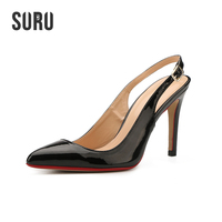 Patent Black Slingback Dress Sandals Women 10cm High Heels Pointy Pumps SURU Handmade Shoes Wide D