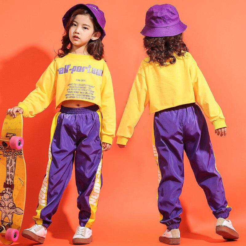 07038277ee0 Spring 2019 children teenage girls clothing Hip Hop Jazz Dance Kids  Costumes Long Sleeve Hooded Top