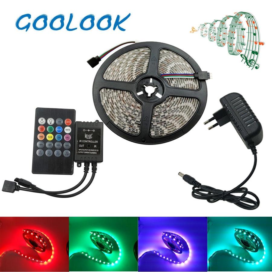 Goolook LED Strip Light SMD 5050 Flexible Ribbon LED Tape Waterproof IR Controller Remote Home Decor RGB Strip Full Set