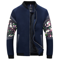 Mens Jackets 2017 Spring Autumn Fashion Bomber Jacket Men Floral Casual Coat Male Streetwear Pockets Plus